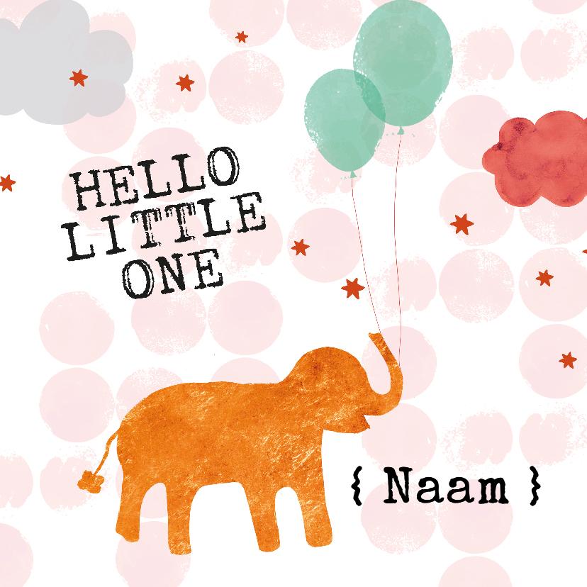 Felicitatiekaarten - Felicitatiekaartje geboorte olifant met ballonnen oranje