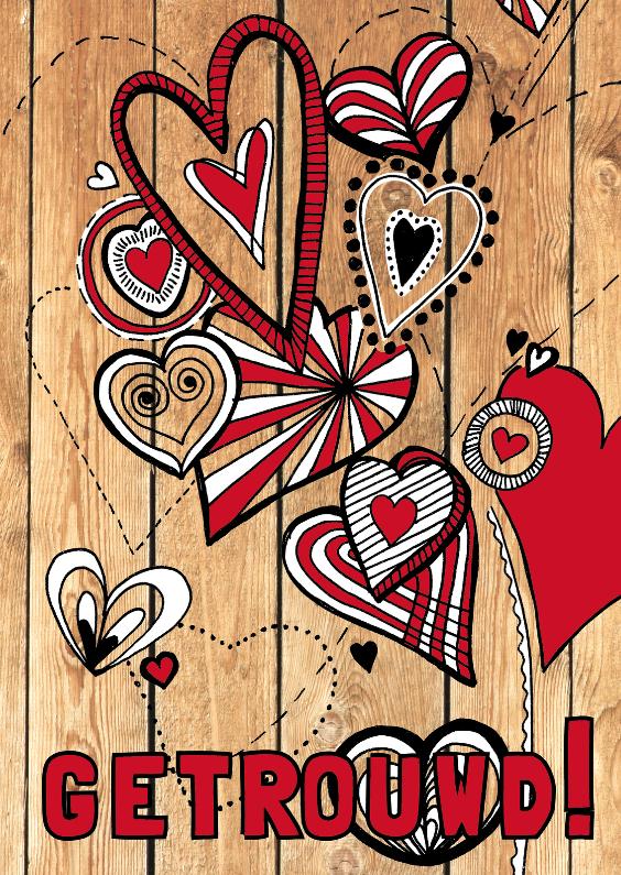Felicitatiekaarten - Felicitatiekaartje huwelijk met hartjes