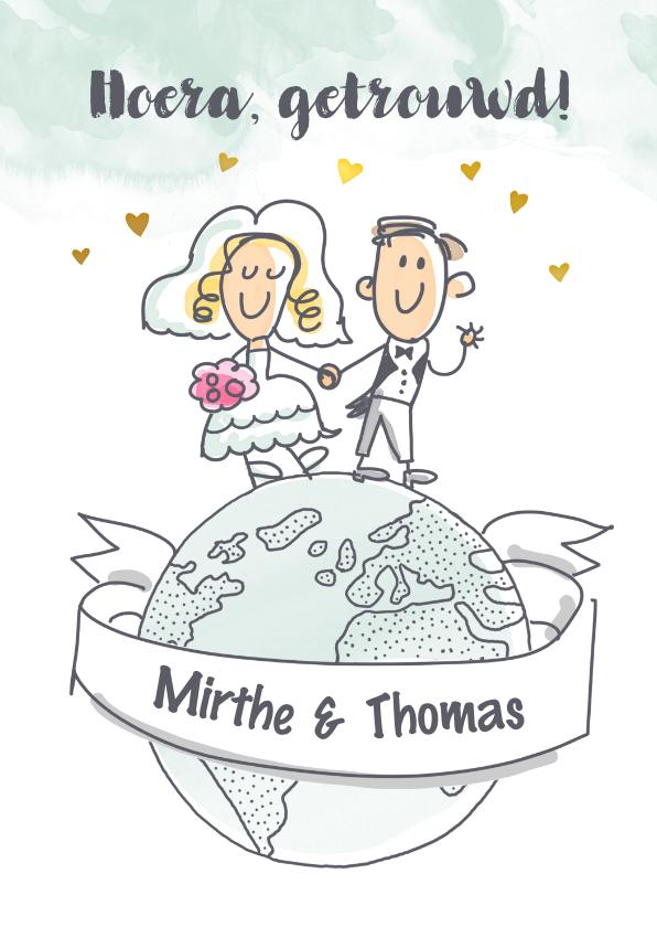Felicitatiekaarten - Felicitatiekaartje met bruidspaar op wereldbol