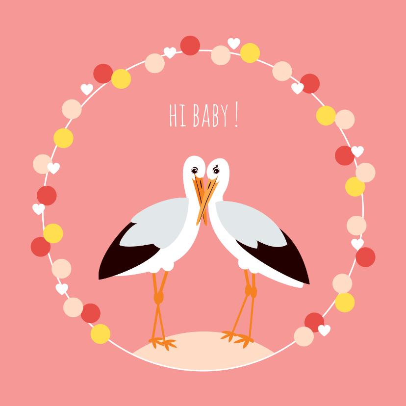 Felicitatiekaarten - Felicitatiekaartje met lieve ooievaars in roze
