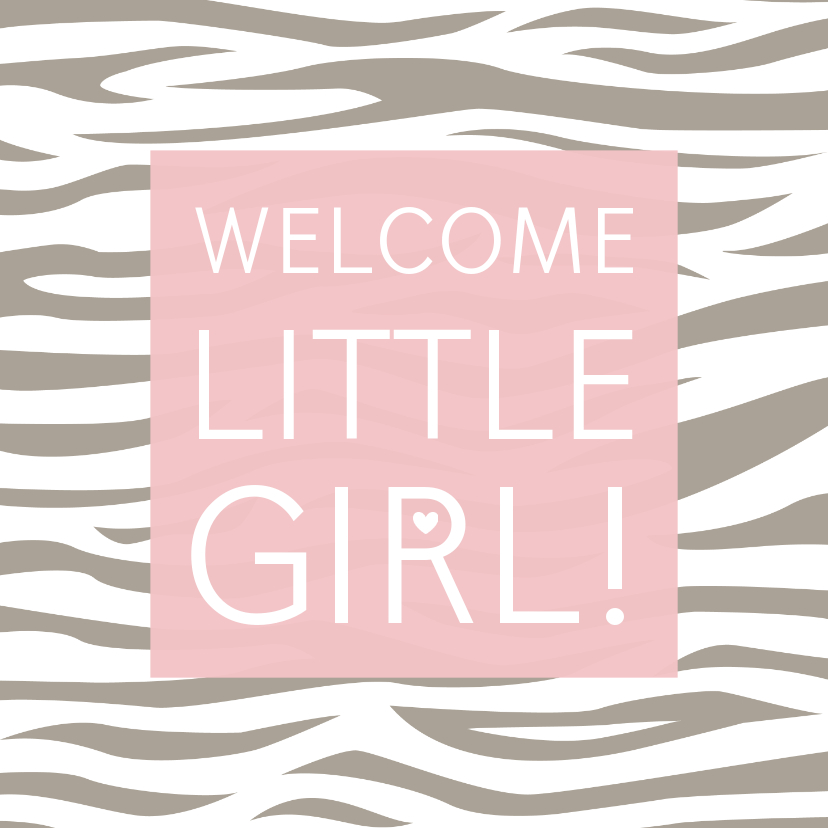 Felicitatiekaarten - Felicitatiekaartje tijgerprint roze geboorte meisje