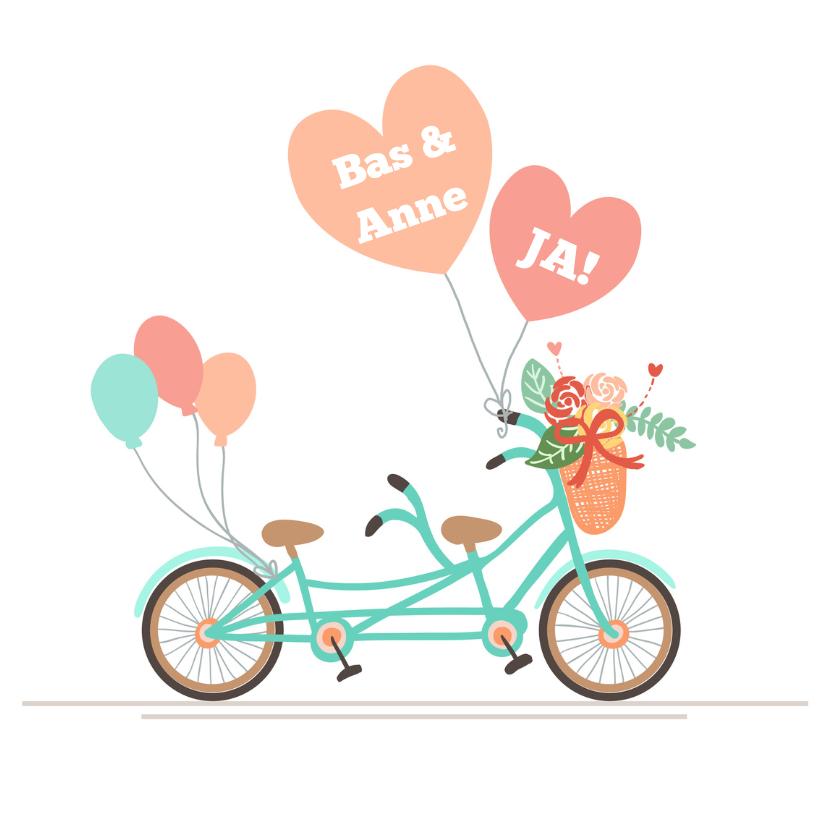 Felicitatiekaarten - Fiets met ballonnen - Getrouwd!