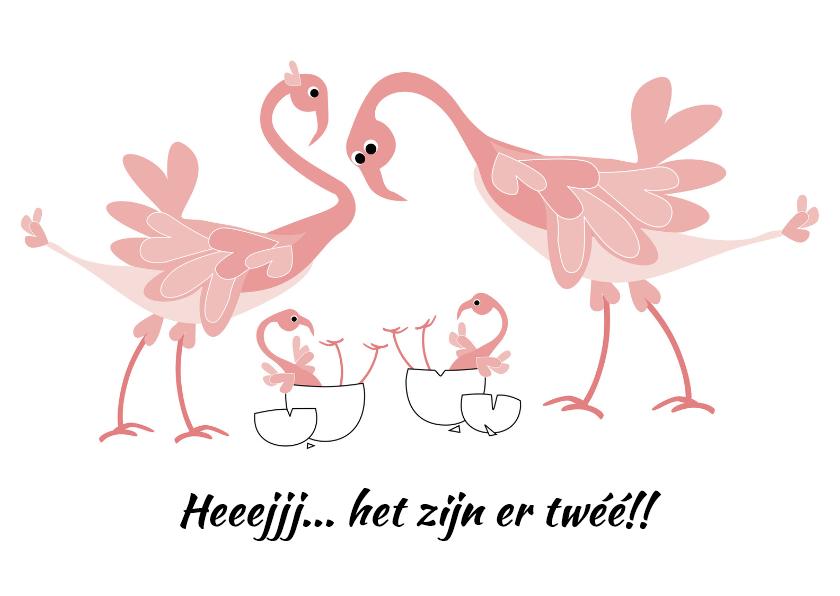 Felicitatiekaarten - Flamingo - geboorte tweeling