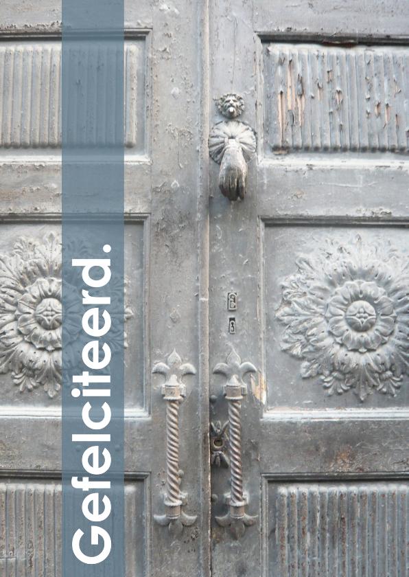 Felicitatiekaarten - Fotokaart voordeur grijs beige