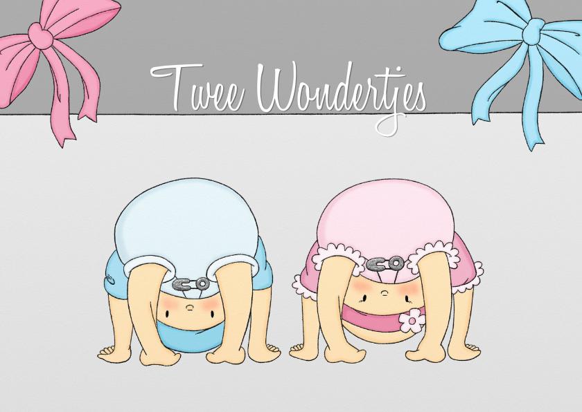 Felicitatiekaarten - Geboorte 2 Wondertjes JM - TbJ