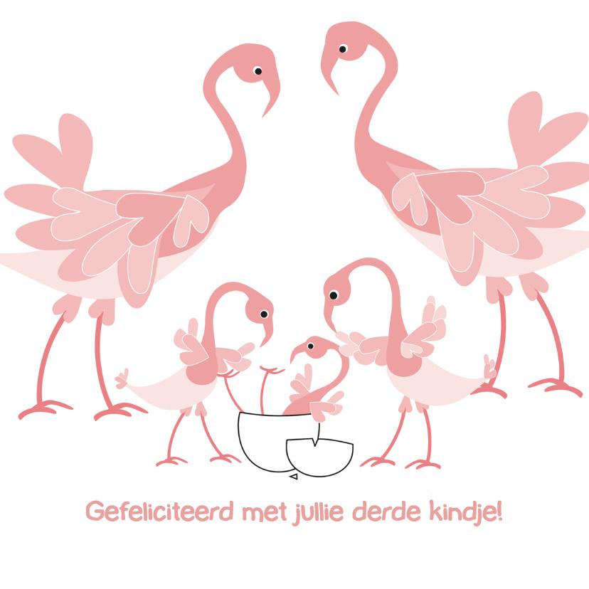 Felicitatiekaarten - Geboorte derde kindje Flamingo 4