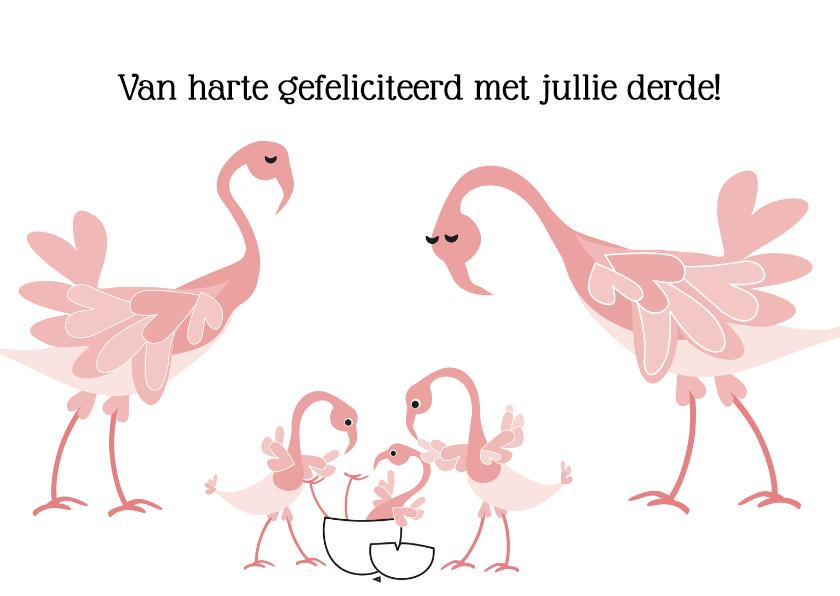 Felicitatiekaarten - Geboorte derde kindje Flamingo L