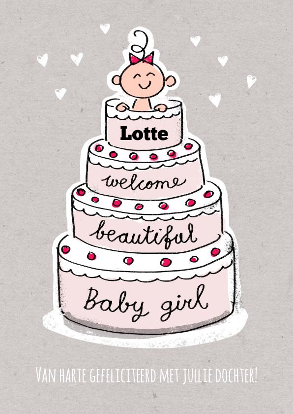 Felicitatiekaarten - Geboorte felicitatie kaart met meisje in een roze taart