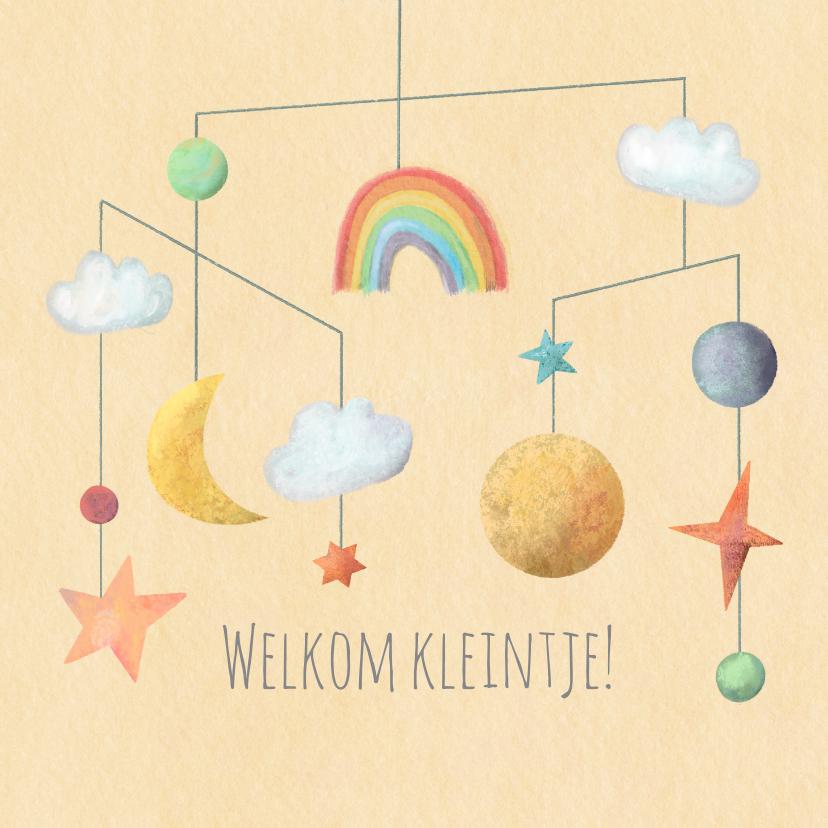 Felicitatiekaarten - Geboorte felicitatie kaart mobiel met zon maan en sterren