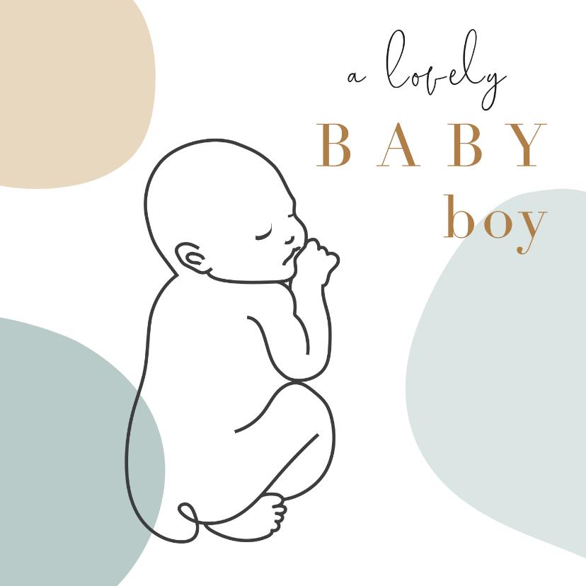 Felicitatiekaarten - Geboorte felicitatiekaart jongen met lijntekening van baby