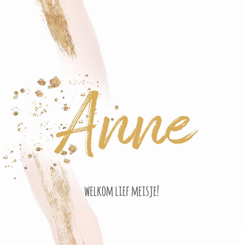 Felicitatiekaarten - Geboorte felicitatiekaart meisje roze penseel strepen