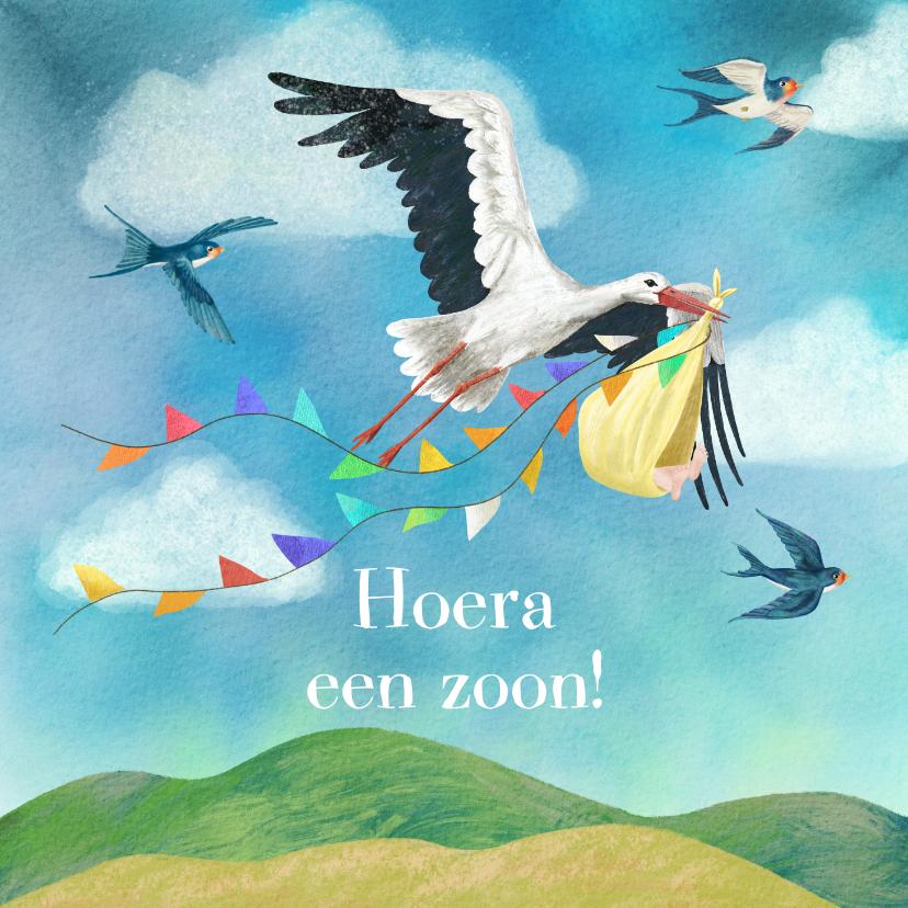Felicitatiekaarten - Geboorte felicitatiekaart vliegende ooievaar met zwaluwen