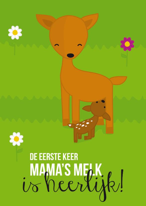 Felicitatiekaarten - Geboorte- Hert Mama's melk