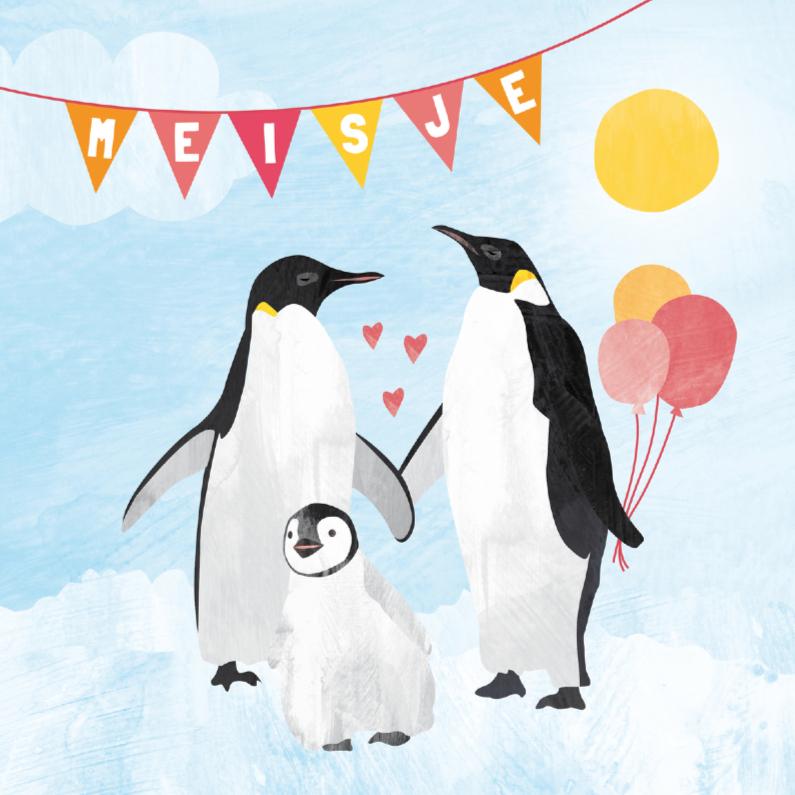 Felicitatiekaarten - Geboorte meisje - pinguin