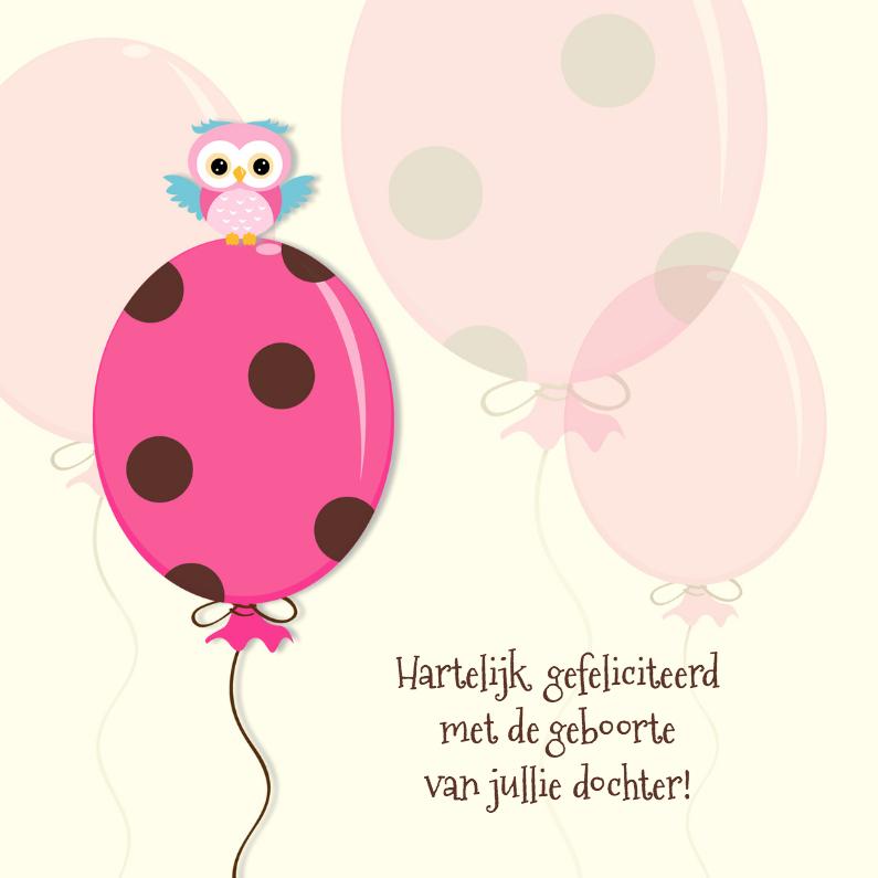 Felicitatiekaarten - Geboorte vieren met roze ballon