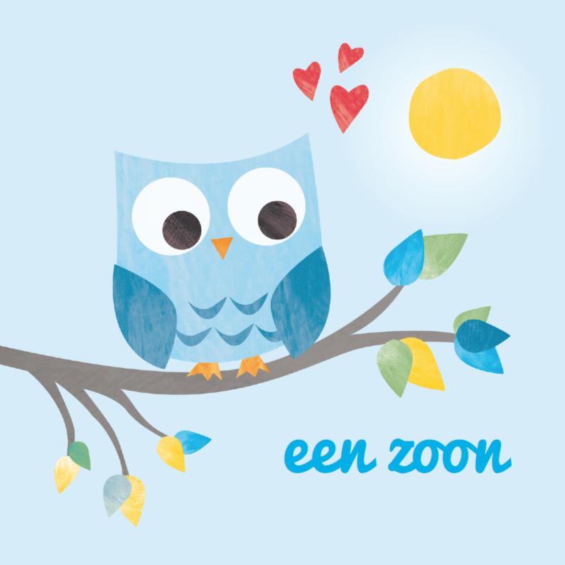 Bedwelming Geboorte zoon- blauw uiltje | Kaartje2go #EY15