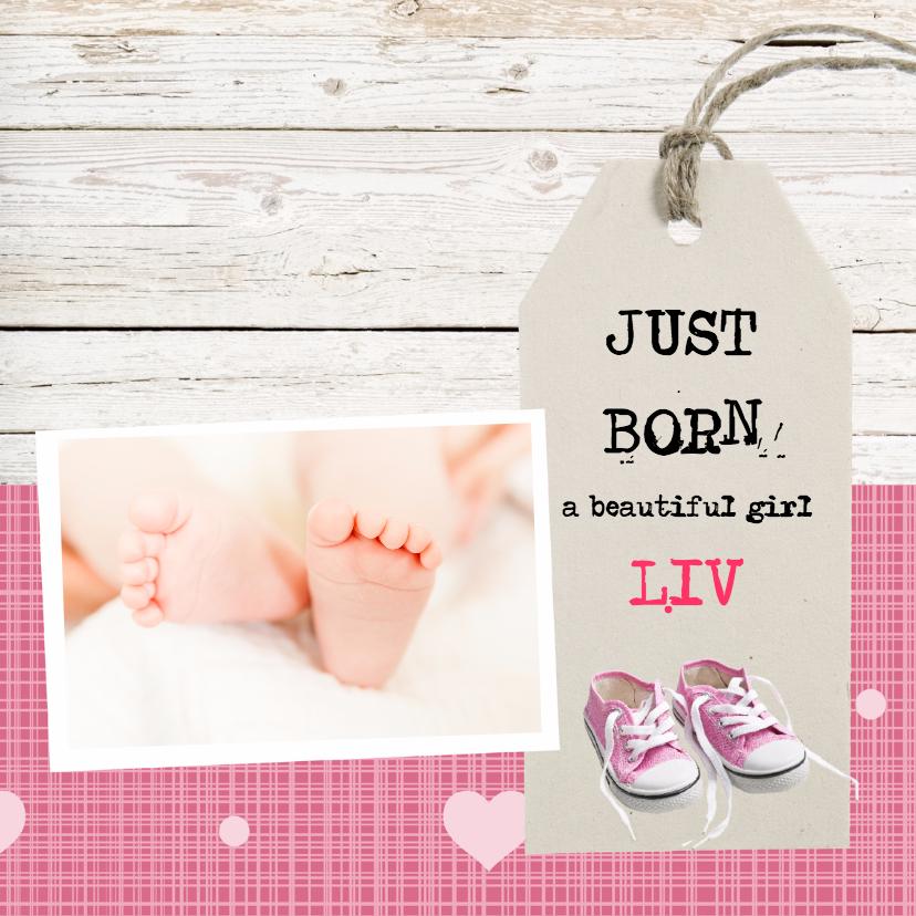 Felicitatiekaarten - Geboortekaartje meisje met gympjes