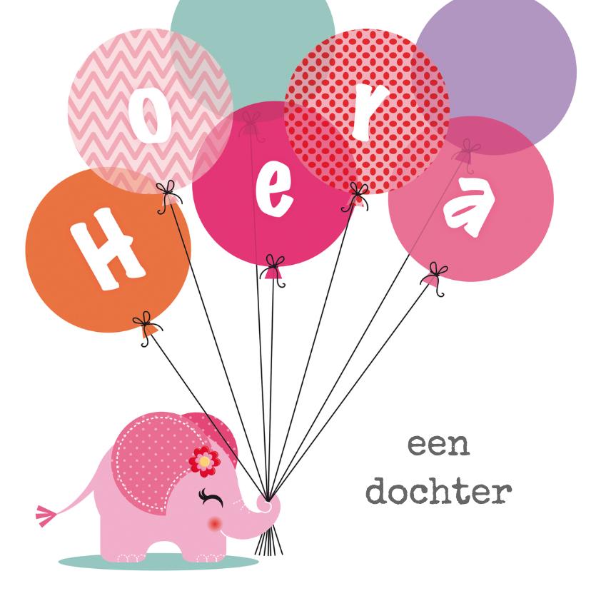 Felicitatiekaarten - Geboortekaartje meisje olifantje roze