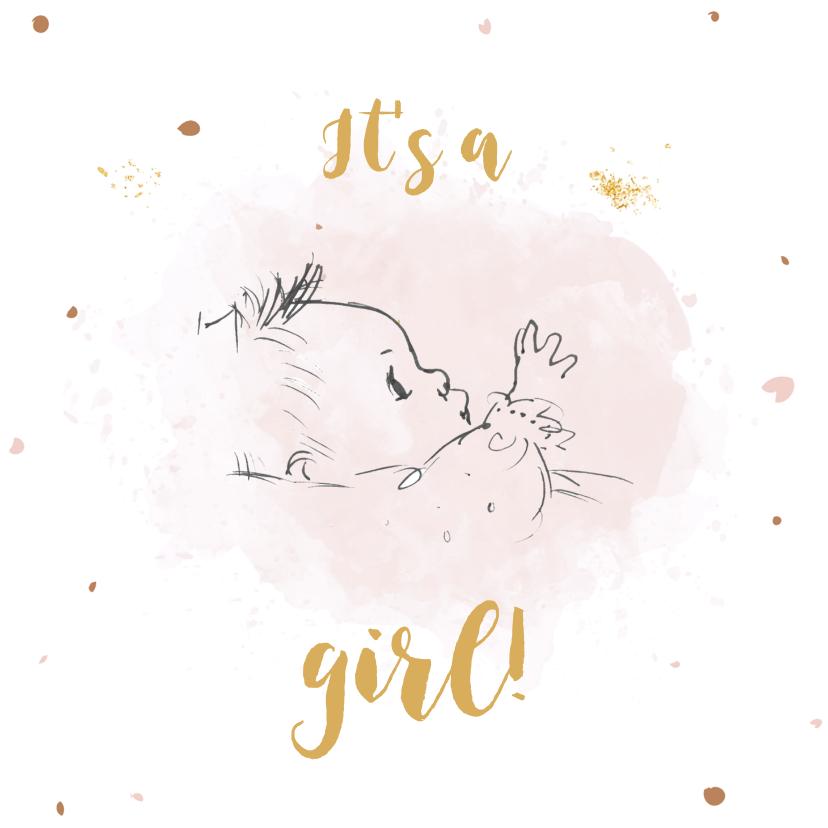 Felicitatiekaarten - Geboortekaartje met lijntekening baby op roze watervlek