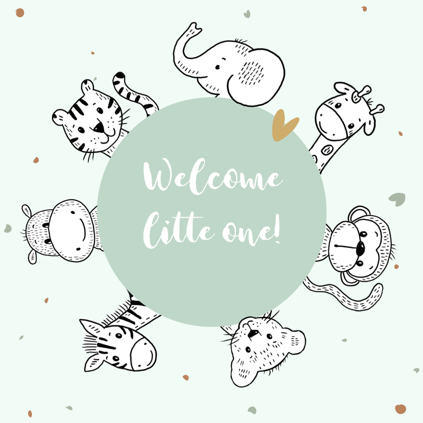 Felicitatiekaarten - Geboortekaartje met safari dieren om een mintgroene cirkel
