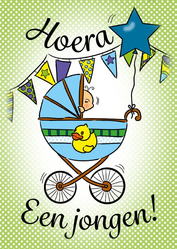 Felicitatiekaarten - Geboren Kinderwagen - jongen