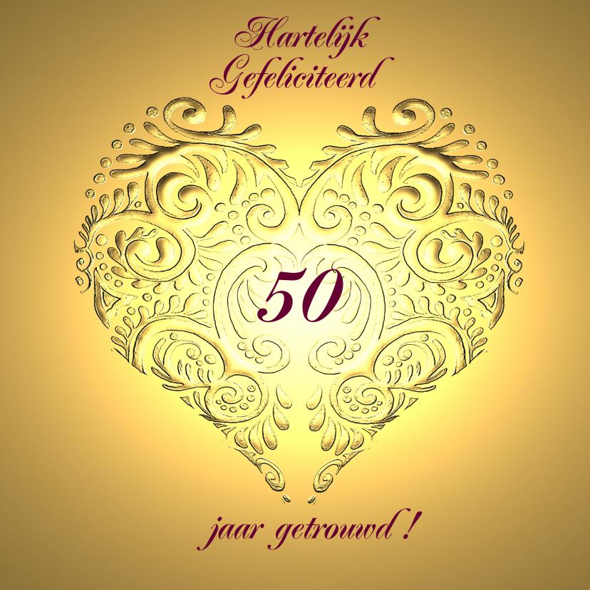 Felicitatiekaarten - Gefeliciteerd 50 jr jubileum gouden hart