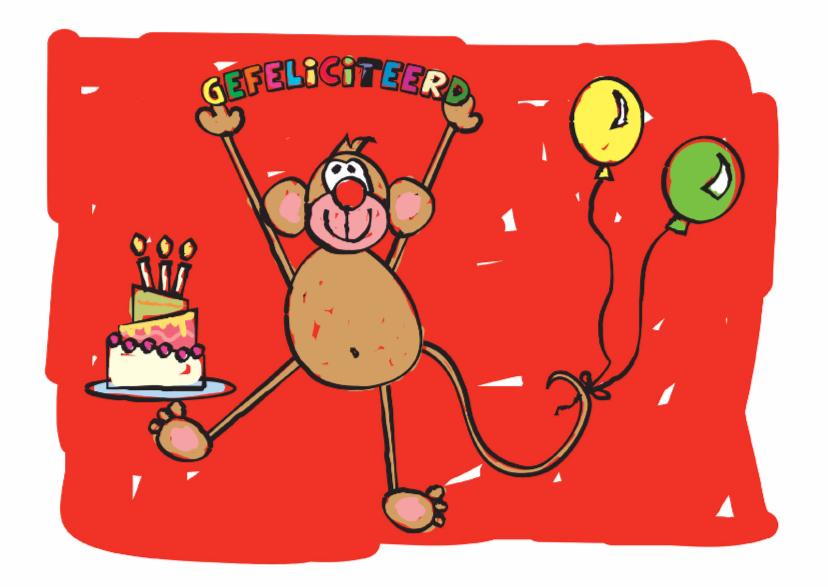 Felicitatiekaarten - Gefeliciteerd aap