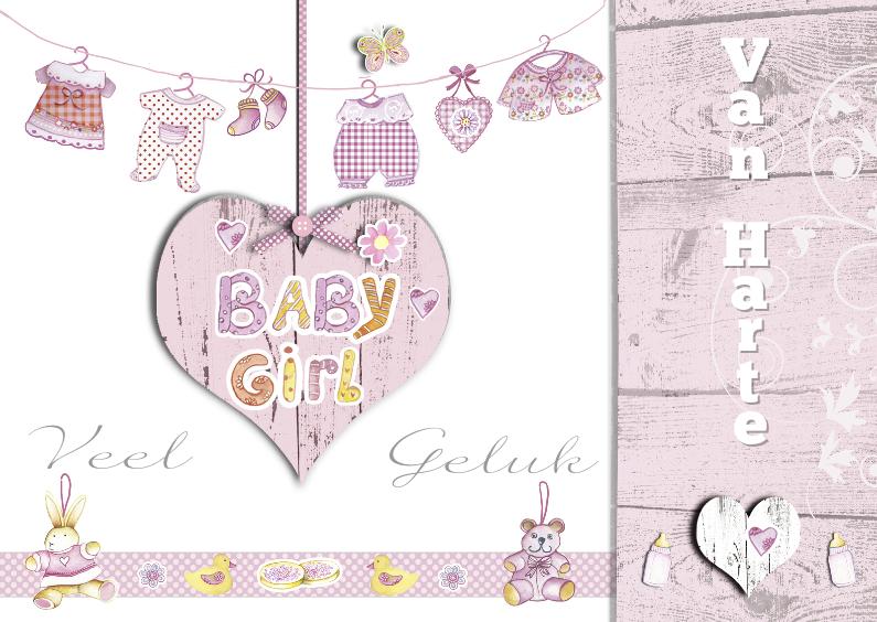 Felicitatiekaarten - Gefeliciteerd babygirl hout met waslijn