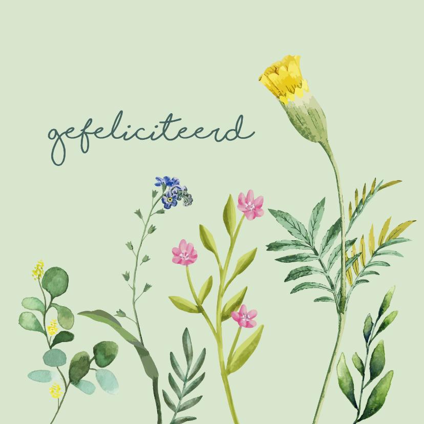 Felicitatiekaarten - Gefeliciteerd bloem felicitatiekaart