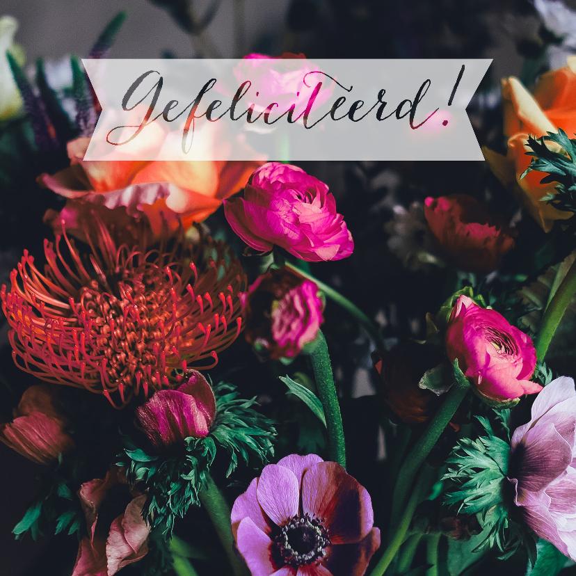 Felicitatiekaarten - Gefeliciteerd bloemen paars oranje roze