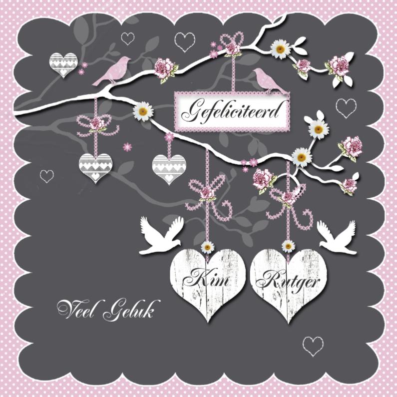 Felicitatiekaarten - Gefeliciteerd met jullie huwelijk harten