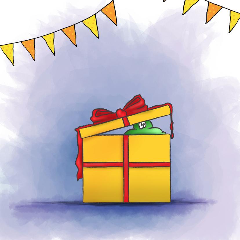 Felicitatiekaarten - Gefeliciteerd - Poef uit cadeau