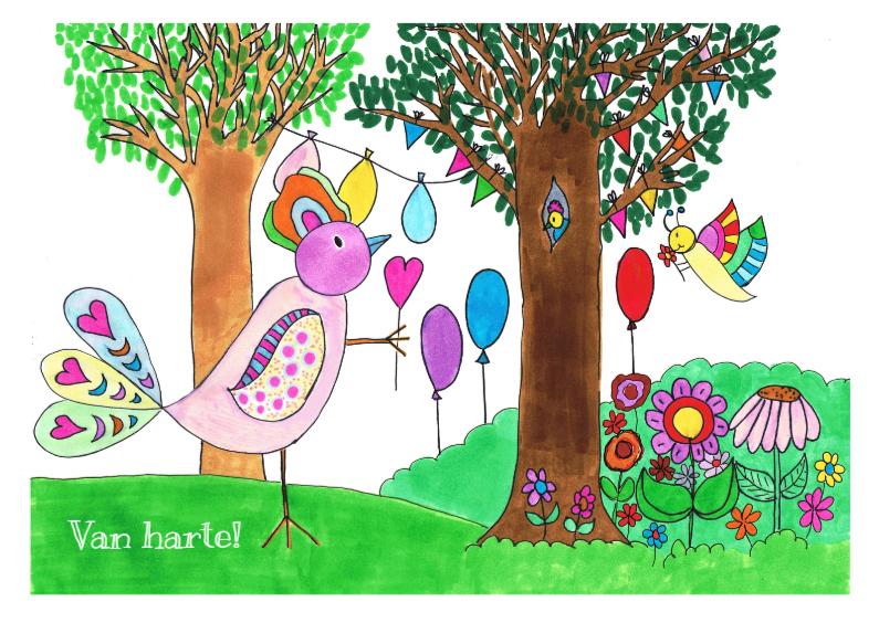 Felicitatiekaarten - Gefeliciteerd vogelkaart