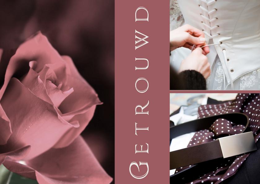 Felicitatiekaarten - Getrouwd roos kleding