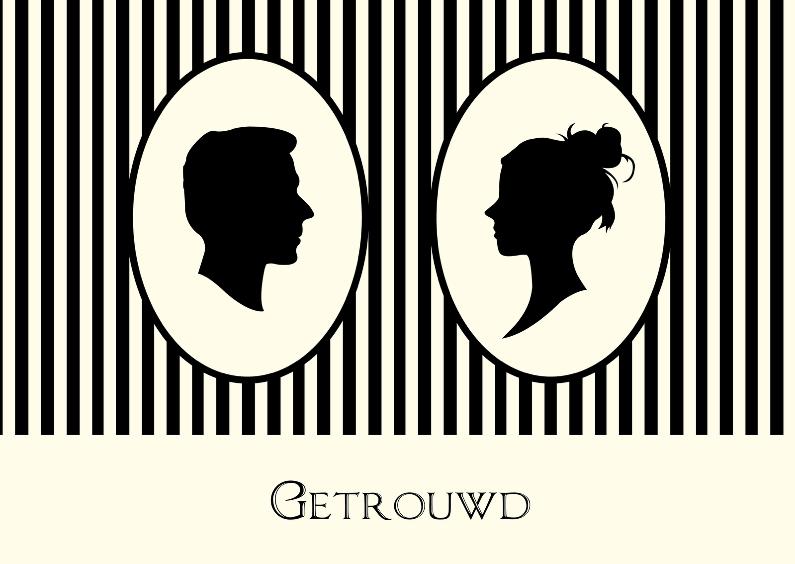 Felicitatiekaarten - Getrouwd silhouet portretten