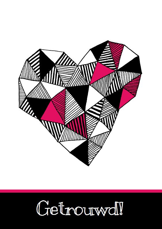 Felicitatiekaarten - Getrouwd zwartwit hart