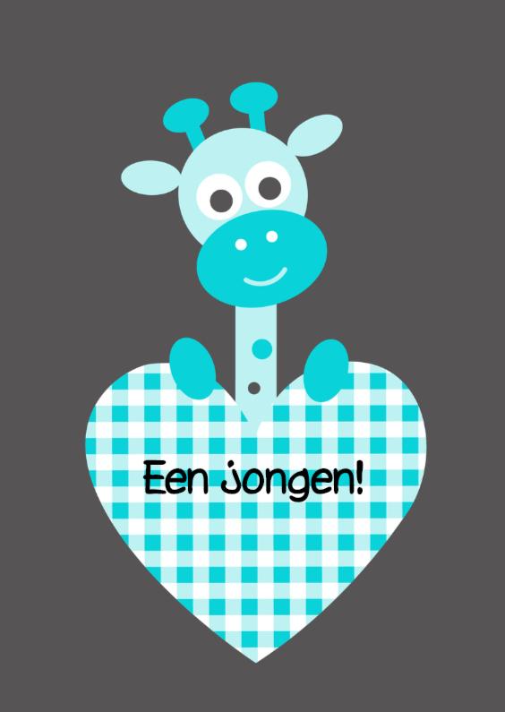 Felicitatiekaarten - Giraf met blauw hart