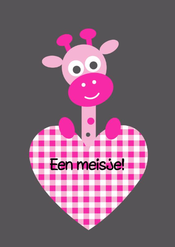 Felicitatiekaarten - Giraf met roze hart