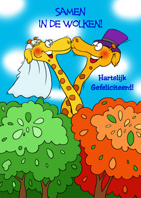 Felicitatiekaarten - Giraffen samen in de wolken