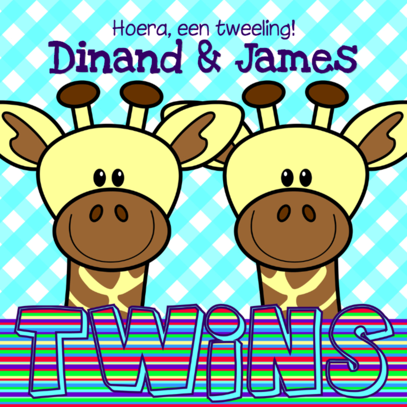 Felicitatiekaarten - Giraffes jongens tweeling