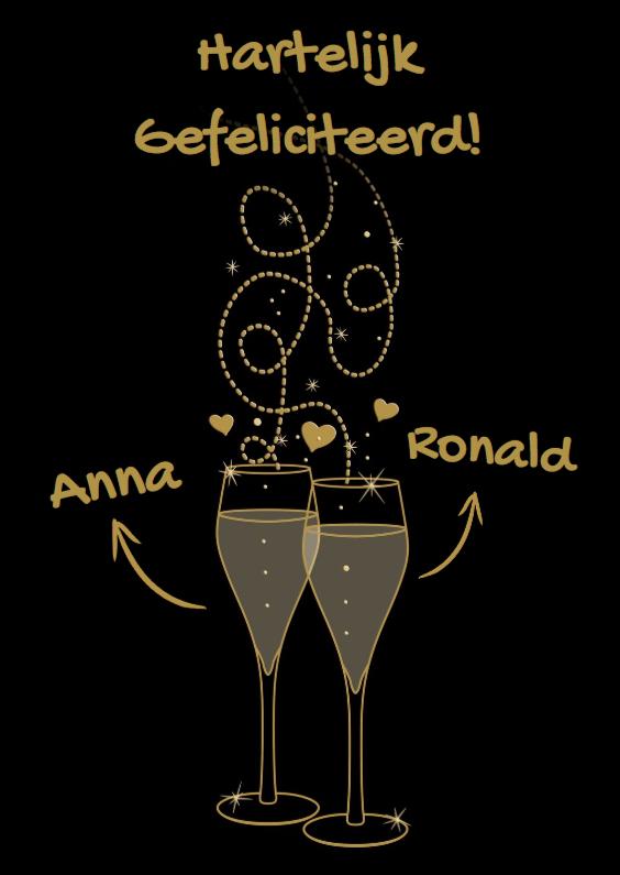 Felicitatiekaarten - Goudkleurige teksten met glazen