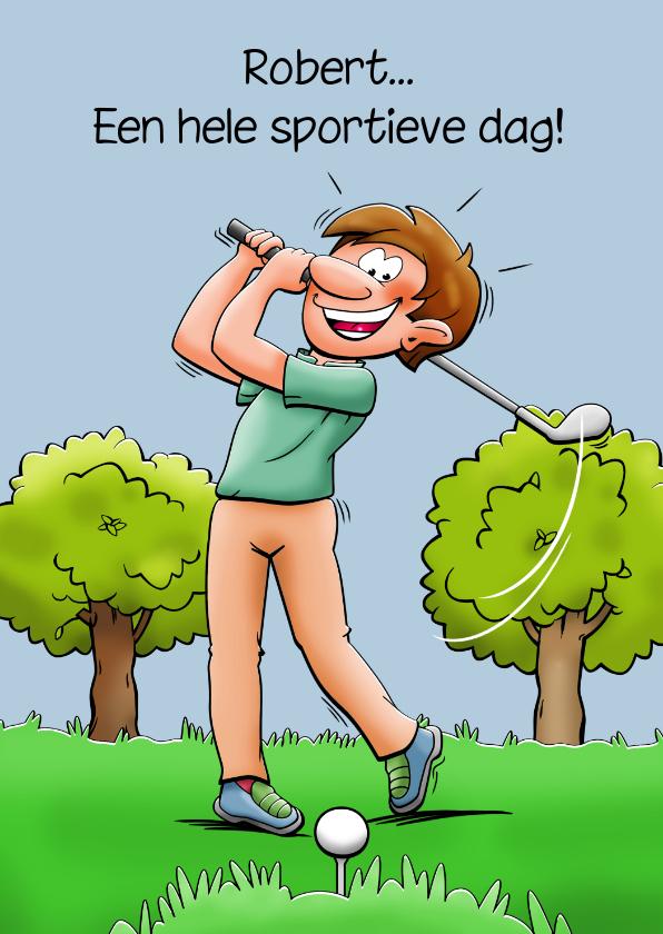 Felicitatiekaarten - Grappige felicitatiekaart met golfspeler die gewonnen heeft