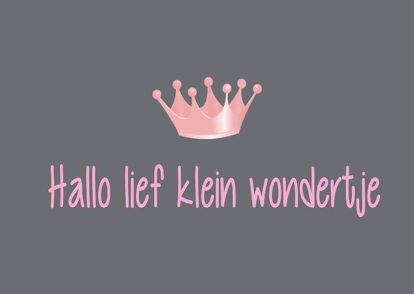 Felicitatiekaarten - Hallo lief klein wondertje kroon