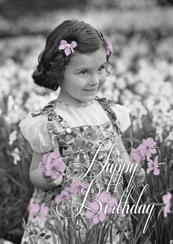 Felicitatiekaarten - Happy birthday lila bloemen-isf