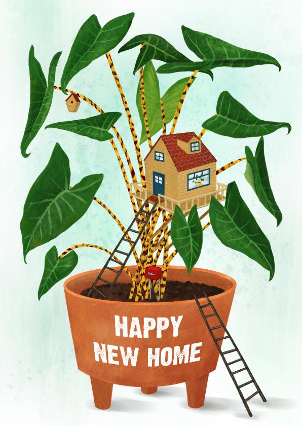 Felicitatiekaarten - Happy new home, felicitatie kaart kamerplant met tiny home