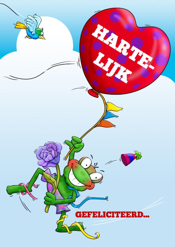 Felicitatiekaarten - Hartelijk met hart ballon en kikker