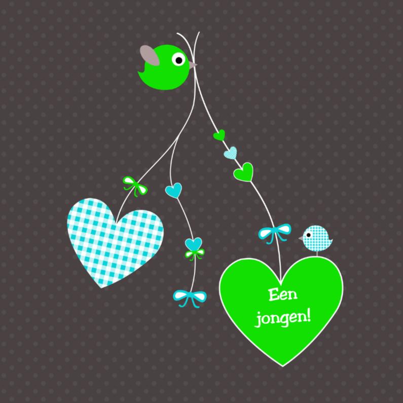 Felicitatiekaarten - Hartjes en vogeltjes groen