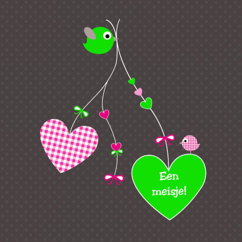 Felicitatiekaarten - Hartjes en vogeltjes roze-groen