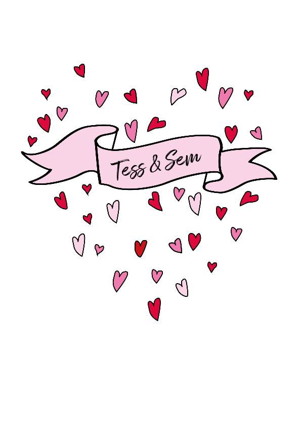 Felicitatiekaarten - Hartjes hart met aanpasbare tekst