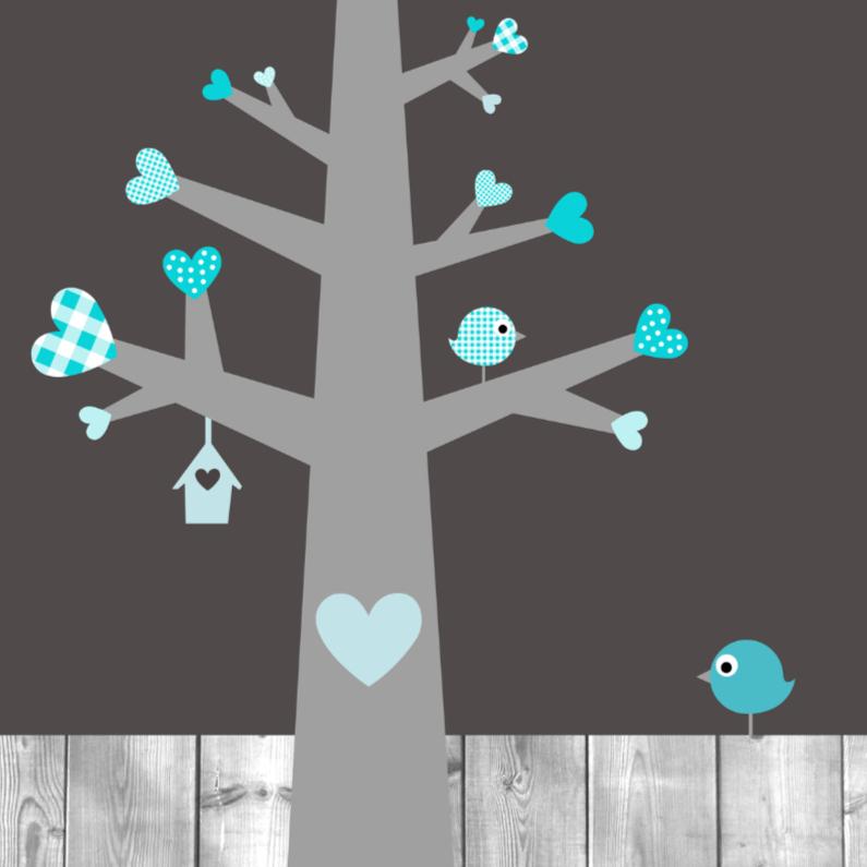 Felicitatiekaarten - Hartjesboom blauw